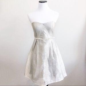ModCloth : Minuet silver strapless dress NWT
